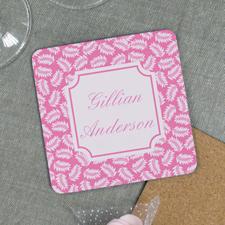 Pink Fern Personalized Cork Coaster