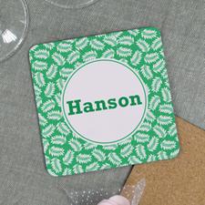 Green Fern Personalized Cork Coaster