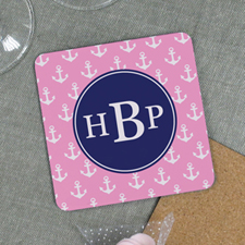 Pink Anchor Personalized Cork Coaster
