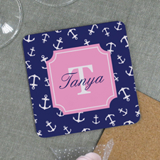 Navy Anchor Personalized Cork Coaster