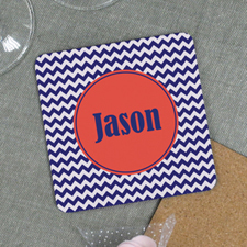 Navy Chevron Personalized Cork Coaster