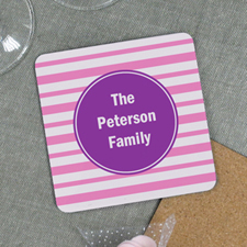 Pink Stripe Personalized Cork Coaster