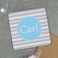 Grey Stripe Personalized Cork Coaster