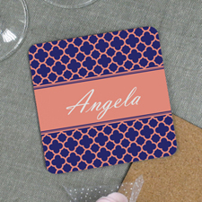 Carol Navy Clover Personalized Cork Coaster