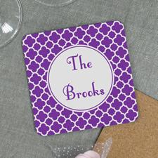 Purple Clover Personalized Cork Coaster