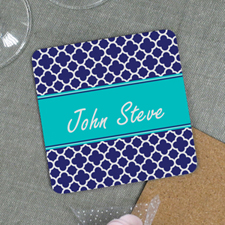 Navy Clover Personalized Cork Coaster