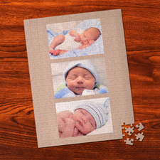 Personalized Timeless Gold 3 Collage Portrait 12X16.5 Photo Puzzle