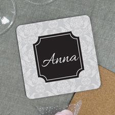 Grey Vintage Personalized Cork Coaster