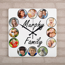 Twelve Photo Collage Personalized Large Square Clock, 10.75