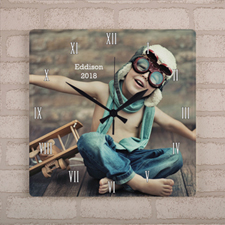 Personalized Photo Large Square Clock White Roman Number, 10.75