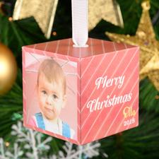 Christmas Stripes Personalized Wood Photo 2