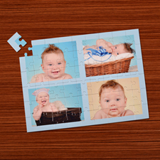 Personalized Baby Blue 4 Collage 12X16.5 Photo Puzzle