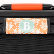 Orange Damask Personalized Luggage Handle Wrap