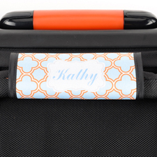 Aqua Orange Quatrefoil Personalized Luggage Handle Wrap