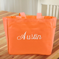 Personalized Embroidered Cotton Tote Bag, Orange