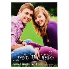 White Script Personalized Portrait Photo Save The Date Card
