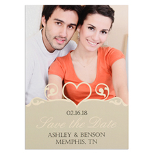 Swirl Heart Personalized Photo Save The Date Card