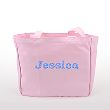 Glitter Text Personalized Cotton Tote Bag, Pink