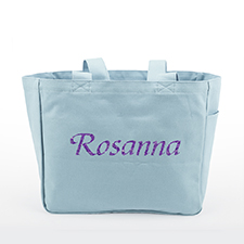 Glitter Text Custom Canvas Tote Bag, Baby Blue