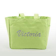 Custom Glitter Text Canvas Tote Bag, Green