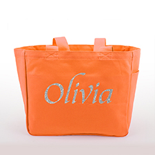 Personalized Glitter Text Canvas Tote Bag, Orange