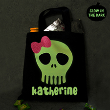 Personalized Glitter And Glow In The Dark Halloween Treat Tote Bag