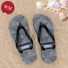 Grey Triangle Personalized Flip Flops, Women Medium