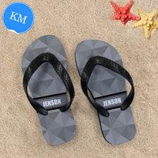 Grey Triangle Personalized Flip Flops ,Kid's Medium