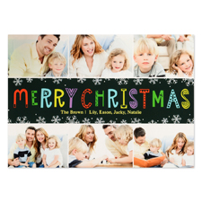 Snowflake Christmas Six Collage Personalized Photo Card