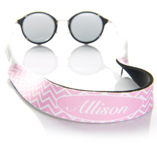 Pink Chevron Monogrammed Sunglass Strap