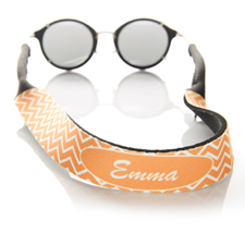 Orange Chevron Monogrammed Sunglass Strap