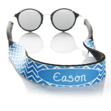Blue Chevron Monogrammed Sunglass Strap