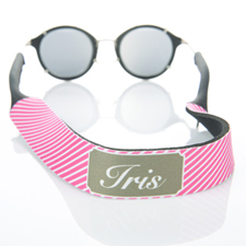 Hot Pink Stripe Monogrammed Sunglass Strap