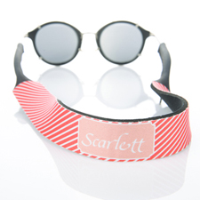 Red Stripe Monogrammed Sunglass Strap