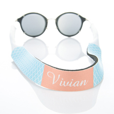 Light Blue Quatrefoil Monogrammed Sunglass Strap