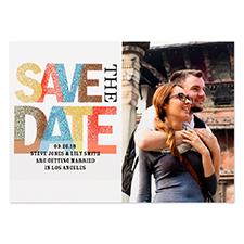 Save the Date Glitter Personalized Invitation Card, White