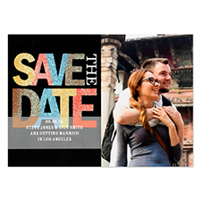 Save the Date Glitter Personalized Invitation Card, Black