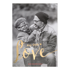 Foil Gold All Our Love Personalized Valentine's Day Card