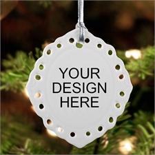 Custom Full Color Oval Filigree Portrait Ceramic Ornament