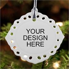 Custom Full Color Oval Filigree Landscape Ceramic Ornament