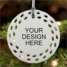 Custom Full Color Ceramic Round Filigree Ornament