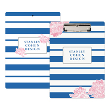Navy Stripe Peony Personalized Clipboard