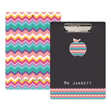 Chevron Apple Personalized Clipboard For Teacher