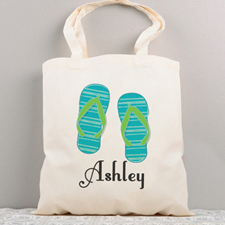 Flip Flops Personalized Summer Cotton Tote