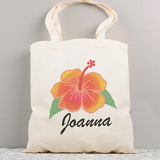 Tropical Flower Personalized Summer Cotton Tote Bag