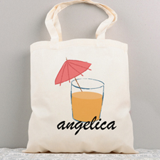 Cool Drink Personalized Summer Cotton Tote Bag