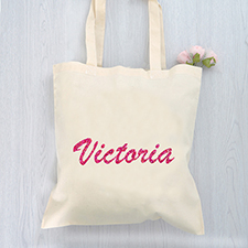 Custom Glitter Name Cotton Budget Tote Bag