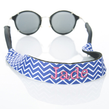 Blue Chevron Embroidery Monogrammed Sunglass Strap Croakies