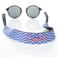 Blue Chevron Embroidery Monogrammed Sunglass Strap Croakies