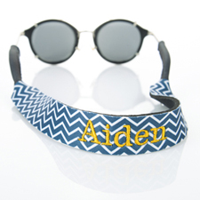 Navy Chevron Embroidery Monogrammed Sunglass Strap Croakies